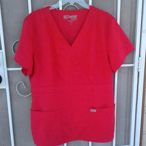 Grey's Anatomy Red Scrub Top Poly-Rayon Size XL